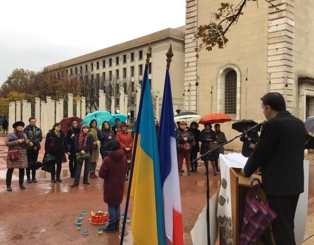 Mykola Cuzin lors de son intervention Mémorial lyonnais de tous les génocides en novembre 2019