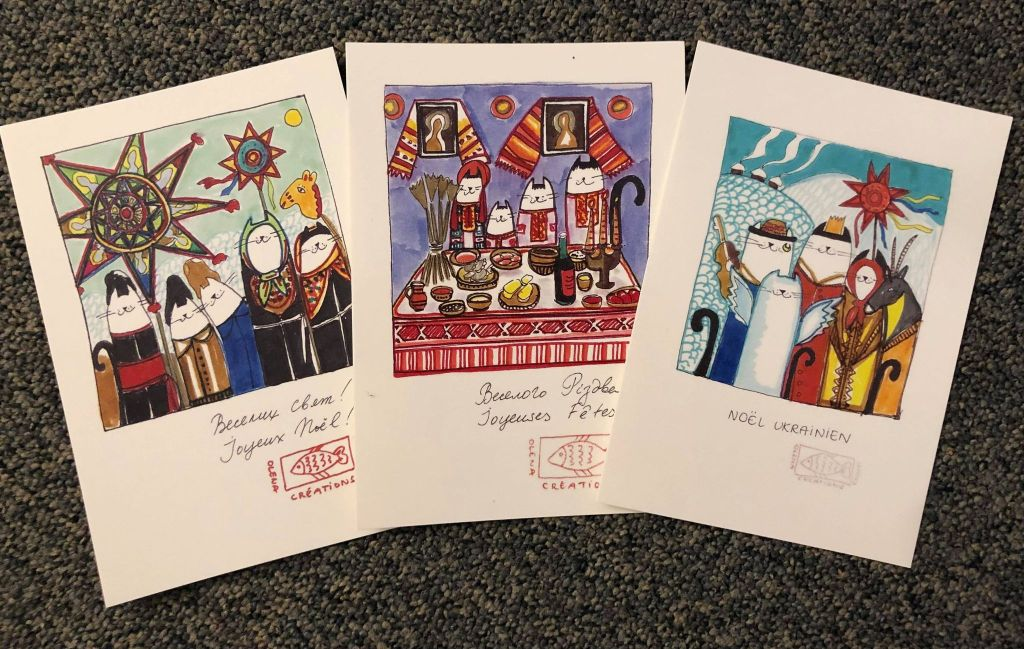 Les cartes vœux avec Katou-Matou qui font connaître les traditions ukrainiennes de Noël. Auteure : Olena Yashchuk Codet