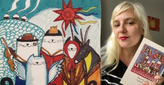 Cartes de vœux Noêl ukrainien, des chats qui chantent et la créatrice Olena Codet